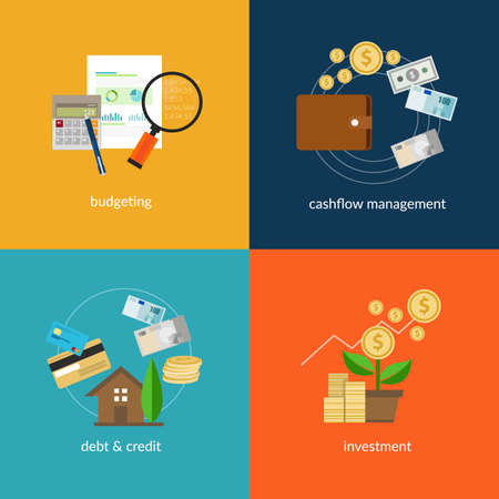 personal banking: personal finance icon set such as cashflow management and spending plan in vector illustration