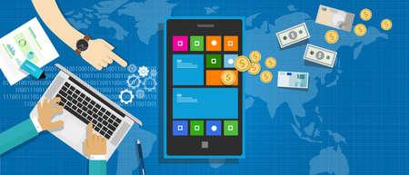 ecosistema: aplicación móvil como una industria global representa con el dinero y el proceso de desarrollo Vectores