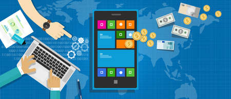 monetizing: mobile application as a global industry represents with money and the development process Illustration