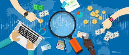 経済指標市場動向金融ビジネスと株式で  イラスト・ベクター素材