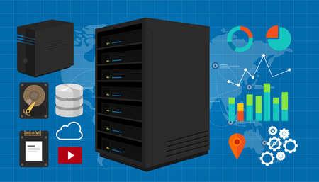 ssd: server vector illustration storage ssd database in map network Illustration
