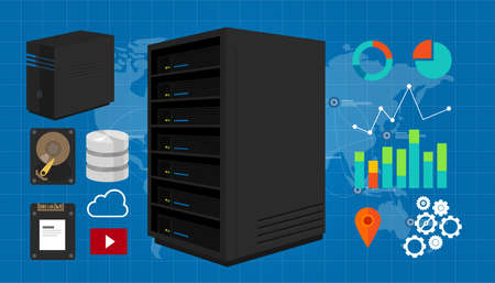 server vector illustration storage ssd database in map network Illustration