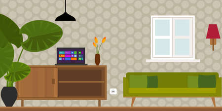 modern interior room: living room home interior in flat vector illustration vintage retro