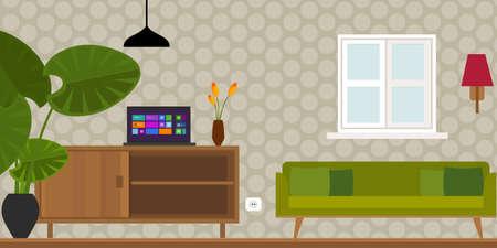 living room home interior in flat vector illustration vintage retro