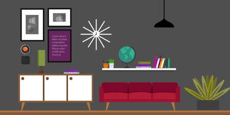interior design living room: living room home interior in flat vector illustration vintage retro