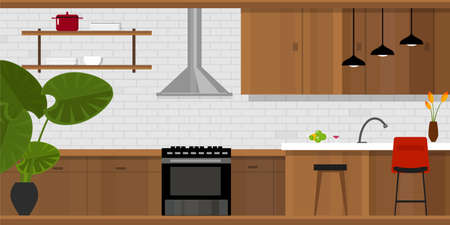 kitchen interior with wood interior in vector illustration Ilustrace