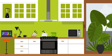 dining set: kitchen interior with wood interior in vector illustration Illustration