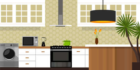kitchen interior with wood interior in vector illustration Stock Illustratie