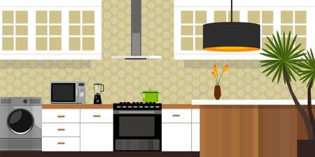 kitchen interior with wood interior in vector illustration Ilustracja