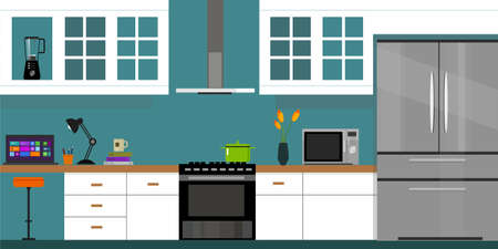 kitchen interior with wood interior in vector illustration  イラスト・ベクター素材