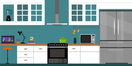 kitchen interior with wood interior in vector illustration Vettoriali