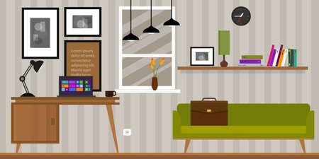 home office interior: home interior work space table and sofa in vector illustration Illustration