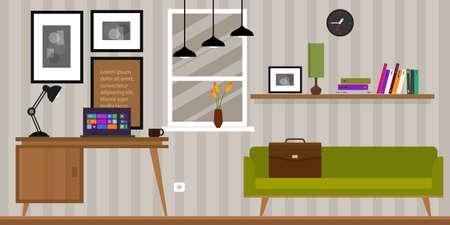 mobiliario de oficina: Interior de la casa Mesa espacio de trabajo y un sofá en la ilustración vectorial