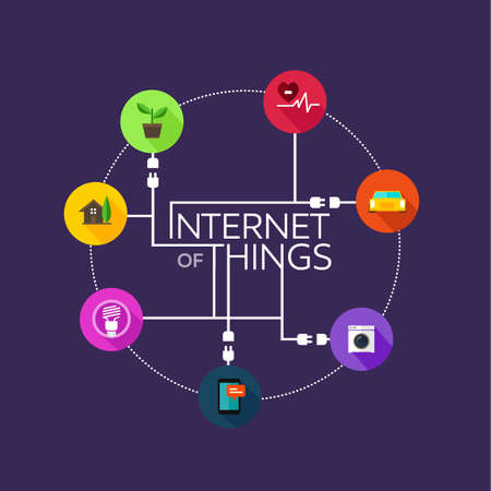 object: Internet of Things platte iconisch illustratie ding object Stock Illustratie