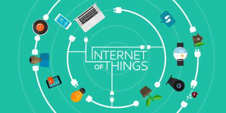interconnected: Internet de las Cosas ilustraci�n plana ic�nica cosa objeto