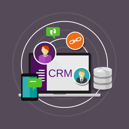 customer service icon: crm customer relationship management illustration vector infographic