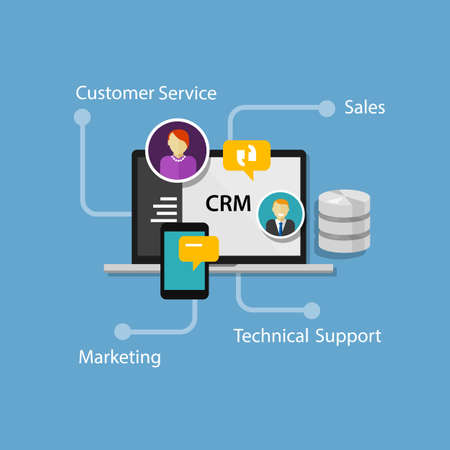 customers: crm customer relationship management illustration vector infographic