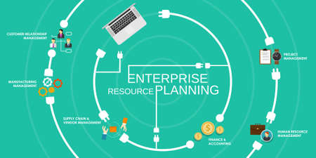 erp enterprise reource planning software application system Vector