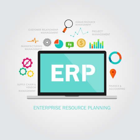 recurso: empresarial ERP planejamento reource sistema de aplicação de software Ilustração