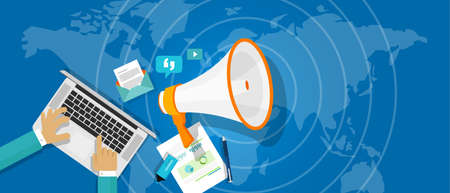komunikace: pr public relations ve vektorové ilustrace marketingu