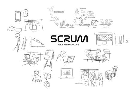 scrum agile methodology software development illustration project management Banco de Imagens