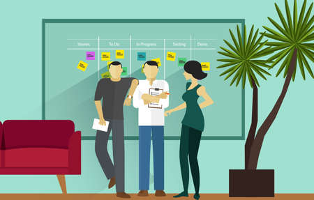scrum agile methodology software development illustration project management Vettoriali