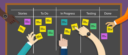 software development: scrum board agile methodology software development illustration project management
