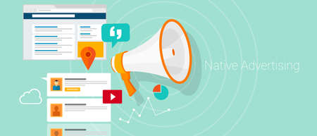 Native social media content advertising marketing vector illustration