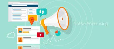 social media marketing: Nativo de medios de comunicaci�n social ilustraci�n comercializaci�n publicitaria contenido vectorial