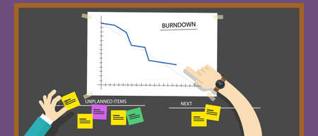 project management: scrum agile methodology software development illustration burn down project management Illustration
