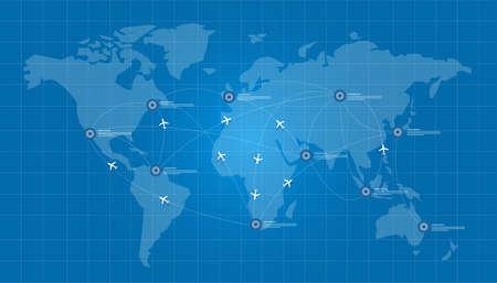 carte du monde plan logistique en bleu vecteur de réseau d'impression connecter Vecteurs