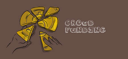 action fund: crowd funding money illustration collaboration drawing coin