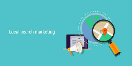 talál: helyi keresés digitális marketing SEO optimalizálás internet Illusztráció