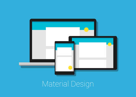 user friendly: material deign responsive interface layout in laptop tablet phone Illustration