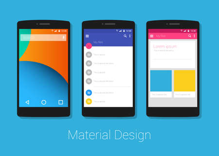 material: material design smart phone  layout lolipop vector interface