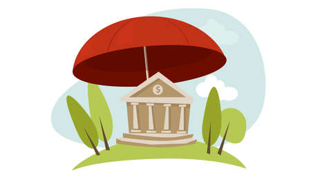 bailout: banking insurance protection illustration in vector bank building umbrella