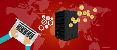 bit coin mining server bitcoin economy vector payment Illustration