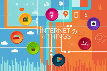 internet van de dingen ding verbonden apparaat en object iot Vector Illustratie