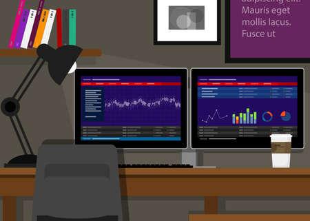 dual two monitor screen stocks transaction terminal analysis Иллюстрация