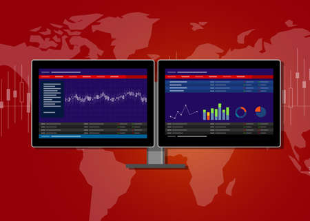 dual: dual two monitor screen stocks transaction terminal analysis Illustration