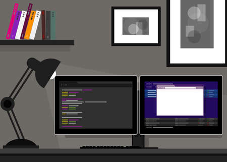 dual two monitor screen stocks programming coding web desk Illustration