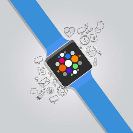 wearable vector smart watches with icon devices object Vector