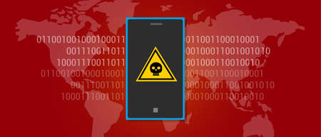 harm: internet data virus malware scan find harm mobile phone Illustration