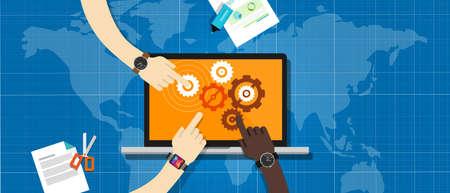 gestion: ecs colaboración empresarial equipo de trabajo del sistema en línea Vectores
