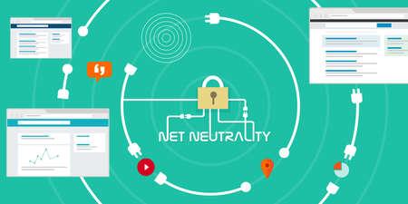 ネット中立性ネットワーク インターネット概念ベクトル図  イラスト・ベクター素材