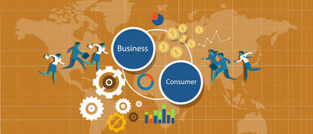 b2c: b2c business to consumer corporate illustration vector