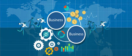 commerce and industry: b2b business to bizz vector illustration works international