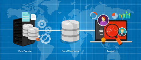 warehouse: data business intelligence warehouse database analysis vector