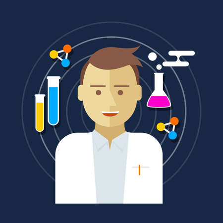 chemist: chemist scientist lab men vector illustration biology