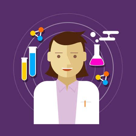 chemist: chemist scientist lab woman vector illustration biology